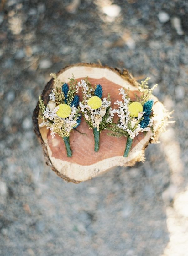 blue + yellow woodsy boutonnieres // photo by Brett Heidebrecht // boutonnieres by NHS Woods Creations
