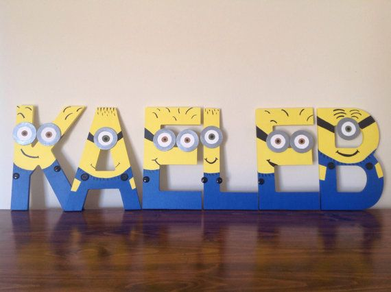 Hand painted wooden letters that POP! Each letter can be designed to fit your childs favorite Despicable Me Character. All letters and accessories