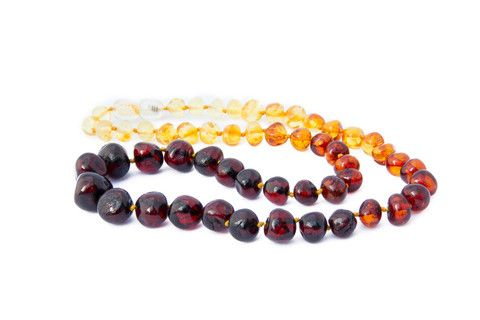 Adult Amber Necklace - Rainbow Baroque – by Amberocks. Baltic amber. Due to their calming effect as well as anti-inflammatory properties, they are perfect for pregnant women too! They measure approximately 45cms in length. If you would like a longer necklace, a child's bracelet can be added for an additional 14cm of length. Why not get one to match your childs! Each bead is individually knotted