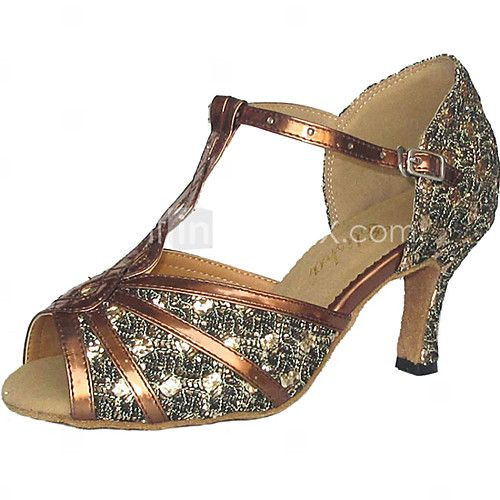 Customizable Women's Dance Shoes Latin/Ballroom Leatherette/Sparkling Glitter Customized Heel Silver - USD $25.19