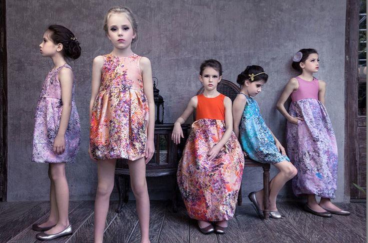 Gorgeous flower print silk girls dresses from Mischka Aoki for kids summer fashion 2014