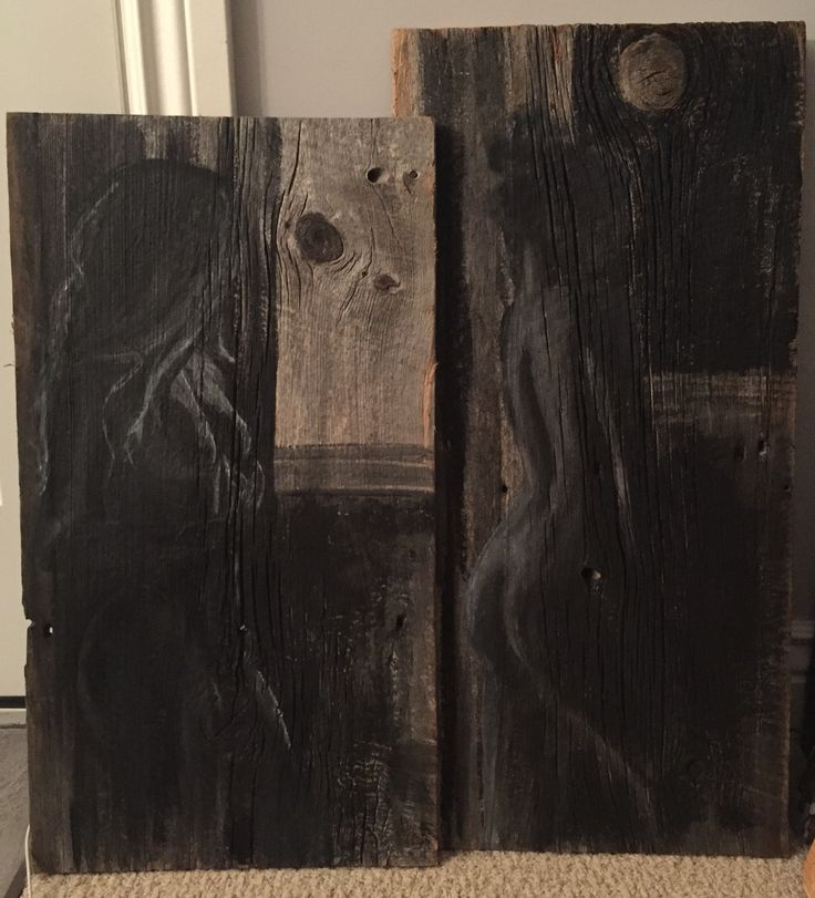 Black and Grey Nude Acrylic Painting on Aged Barnboard