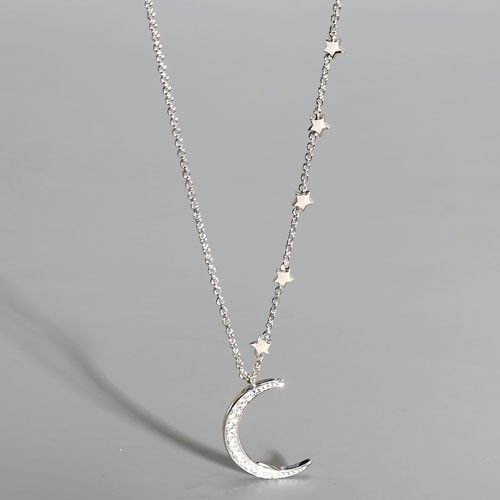 Moon and Star Women's Necklace with Cubic Zirconia in 925 Sterling Silver