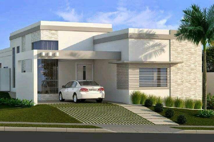 Fachada doble altura de casa moderna. Casa com o Pé Direito Duplo!!!