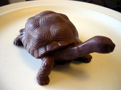 Don't play with your food. Unless you can make it as cute as this! Chocolate Turtle sculpture.