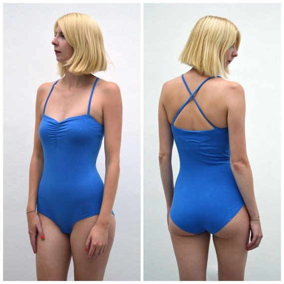 Una Sweetheart Panelled Stretch Blue Bodysuit. One Piece Strappy Bandeau Jersey Body for Women.