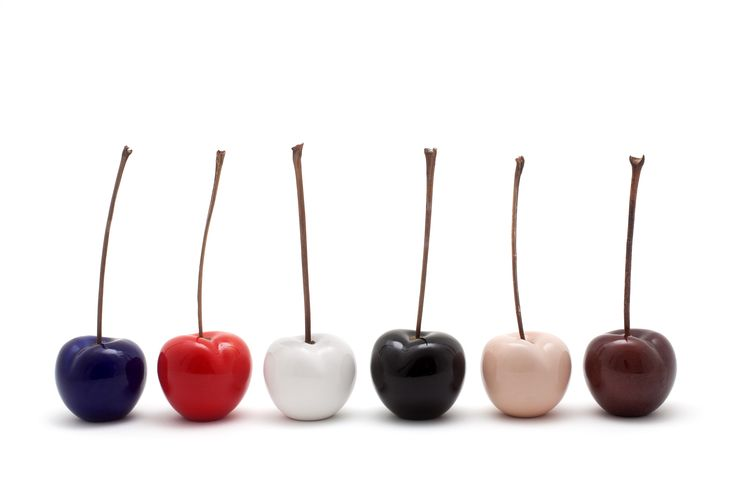 Luscious, ceramic cherries, beautiful and quirky.