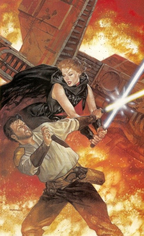 Kyle vs Sariss illustration from 'Dark Forces: Jedi Knight'