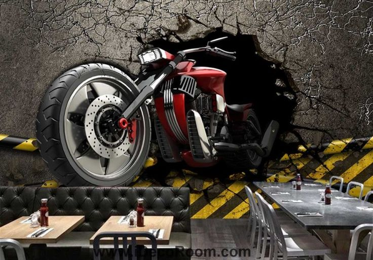 3d wallpaper graphic design red motorbike breaking wall Art Wall Murals Wallpaper Decals Prints Decor IDCWP-JB-000600