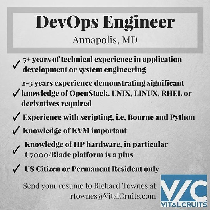 devops engineer opportunity in annapolis md email rtownesvitalcruitscom follow us on linkedin twitter instagram and facebook wwwvita