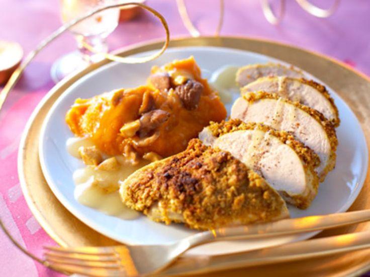 Découvrez la recette Suprêmes de chapon aux épices, purée de potiron et marrons sur cuisineactuelle.fr.