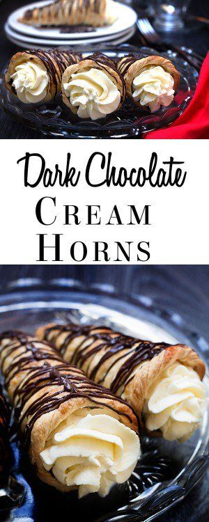 This indulgent recipe for Dark Chocolate Cream Horns makes puff pastry cornucopias filled with dark chocolate and Chantilly cream. The chocolate on top gives this recipe a double dose of chocolate, making it one amazing dessert.