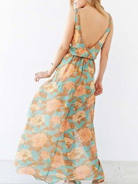 Multicolor V Neck Floral Sleeveless High Waist Backless Dress