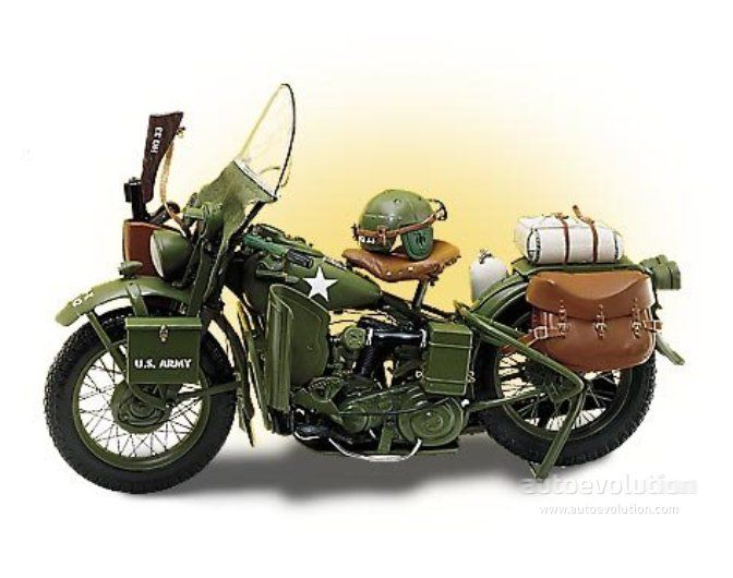 1942 - 1944 HARLEY DAVIDSON WLA  The Harley Davidson WLA was only manufactured between 1942 and 1944 and was especially intended to be used during the war. Harley Davidson produced only 88.000 units for both the US army and for the Allies.