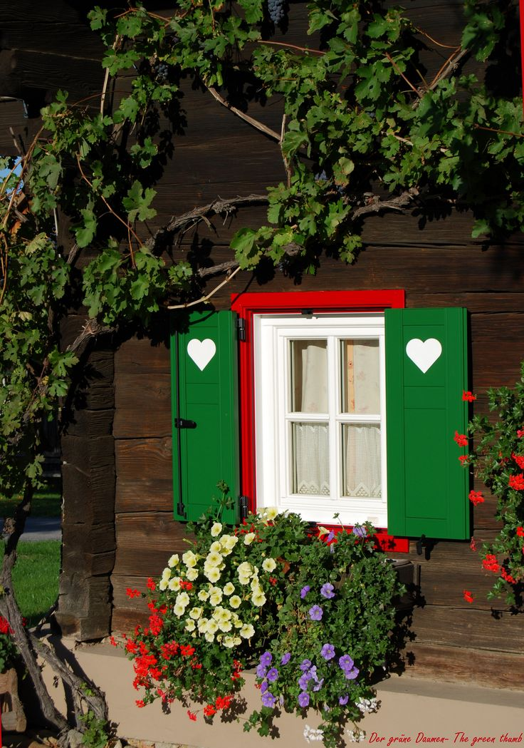 Austria: old famhouse window bars with <3