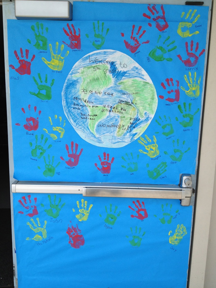 "Inside the Earth the kids wrote ""Welcome to 5th Grade"" in all the different languages that are spoken in their homes."