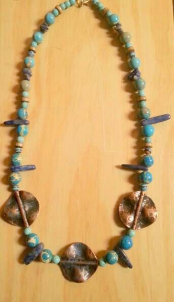Check out this item in my Etsy shop https://www.etsy.com/uk/listing/294290159/copper-turquoise-lapis-lazuli-and-wooden
