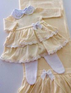 Kit Saída de Maternidade Menina Amarelo 2 Babbados