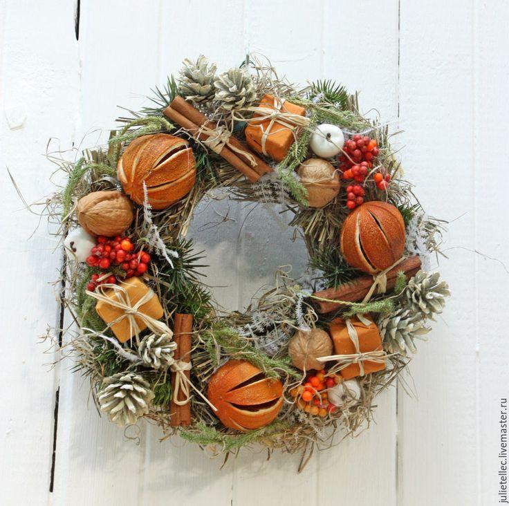 Купить Апельсиновый венок - оранжевый, Новый Год, рождество, подарок, Праздник, украшение интерьера
