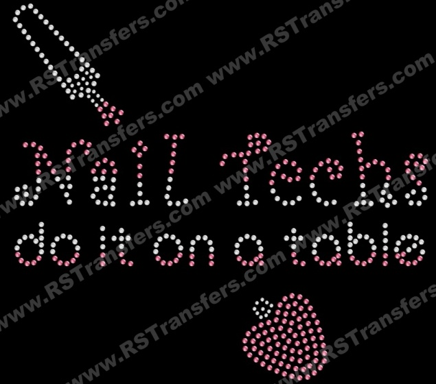 Nail Techs do it on a table; manicurist rhinestone transfer| RSTransfers.com
