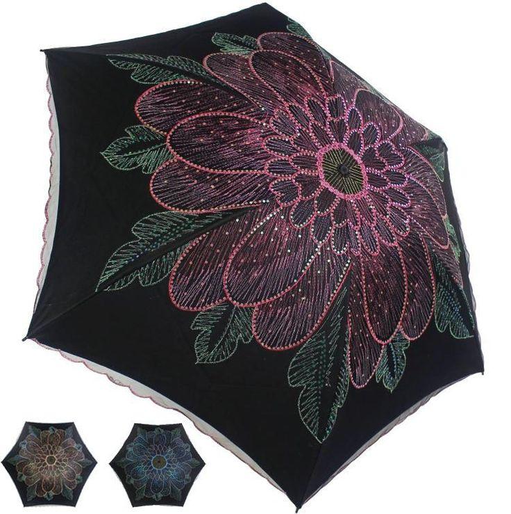 New Women Embroidery Lace Flower Anti UV/Sun Rain Protect Parasol Umbrellas  9245