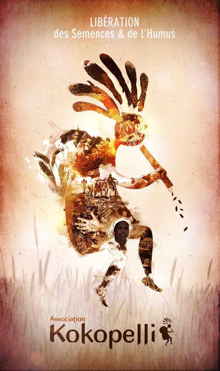 Voici une association qui me tiens à coeur, Kokopelli qui oeuvre pour la cause de la biodiversité et de la préservation des semences. Le vivant n'appartient à personne!!!    Kokopelli : personnage mythique amérindien, bossu (cette bosse serait remplie de graines, de plantes... ) il est aussi un joueur de flûte, apportant la joie et la bonne humeur! Il insuffle, ainsi, dans les semences, le souffle de la vie!    Artiste : Mimoza Graphic Lab
