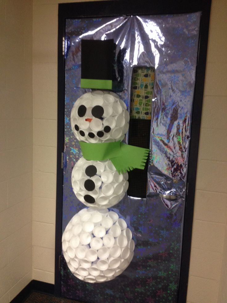 Snowman door decoration out of foam cups with instructions in comments! I couldn't find great directions for this so I made my own and will share how I did it!