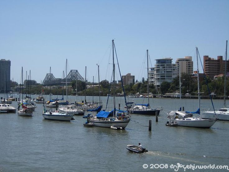 Boats at anchor in the Brisbane river.  With the Story bridge in the background.