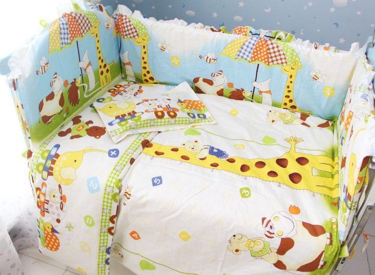 Продвижение! 7 шт. кроватки комплект постельных принадлежностей кроватке установить 100% хлопок детские постельные принадлежности комплект распускать и мыть ( бамперы + матрас + подушка + одеяло )