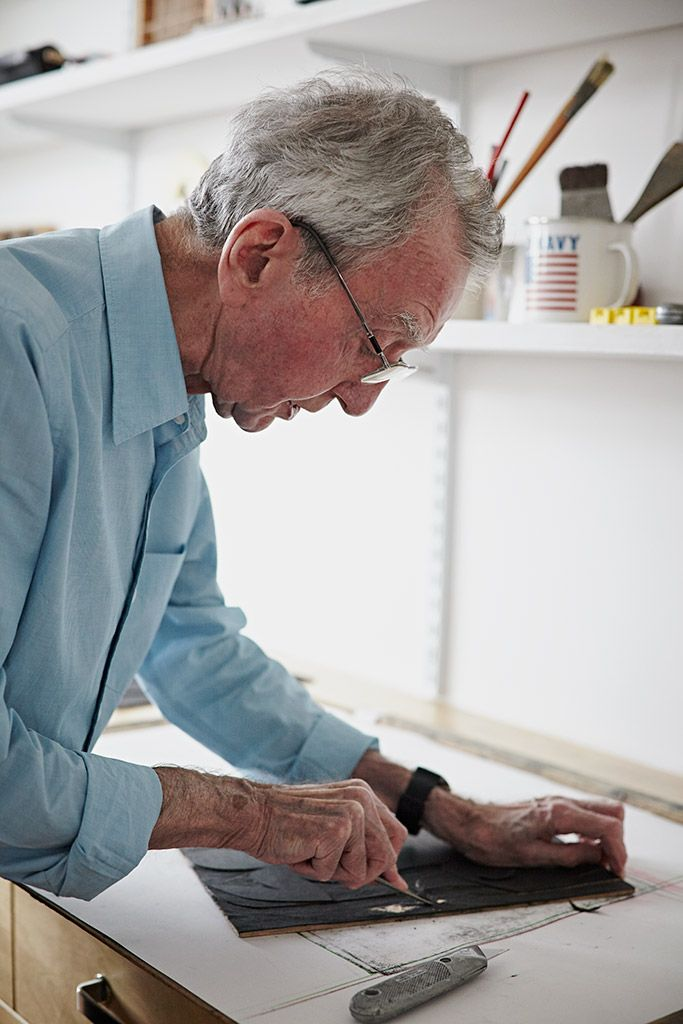 Here's a photograph of printmaker Peter Green working in his London studio - one of the photographs by Alun Callendar that will be appearing in a book about Peter's work which we'll be publishing under our Random Spectacular imprint during the summer.