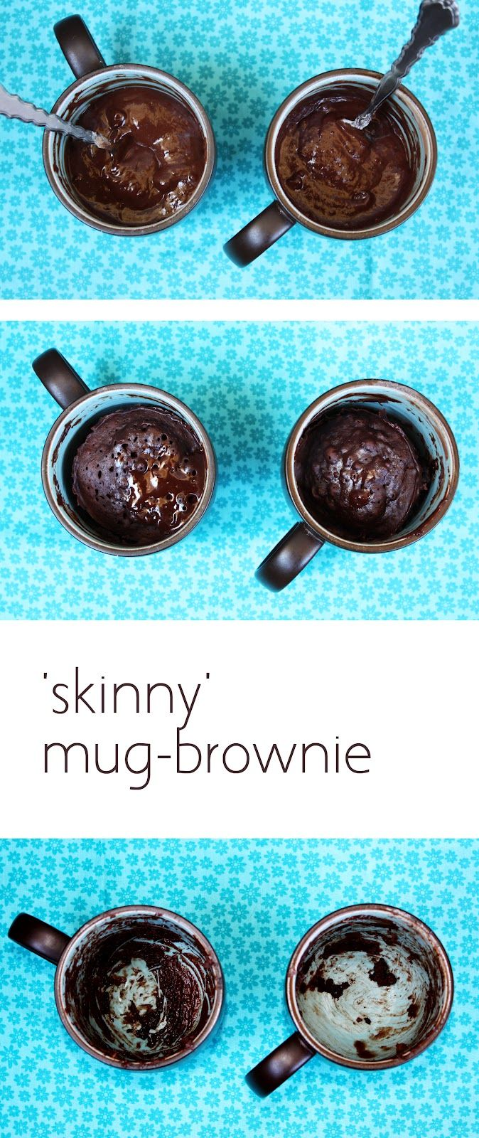 "This ""skinny"" version of a mug brownie is to die for - and only takes 30 seconds in the microwave to cook! This recipe has 1/4 the calories of a regular mug brownie! Made with agave nectar and yogurt instead of sugar and butter."