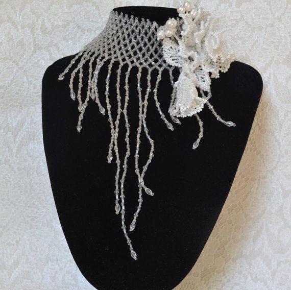 White Wedding Jewely Set Statement Perl Choker by BeadsGemsFlowers
