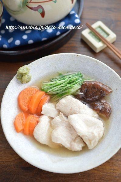 めんつゆで簡単!やさしい味♡「鶏むね肉の冷やし治部煮、わさび添え ...