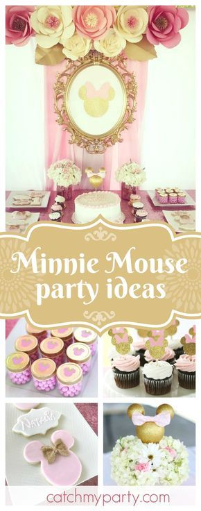 Don't miss this gorgeous gold and pink garden Minnie 1st birthday party. The Minnie centerpieces are beautiful!! See more party ideas and share yours at CatchMyParty.com