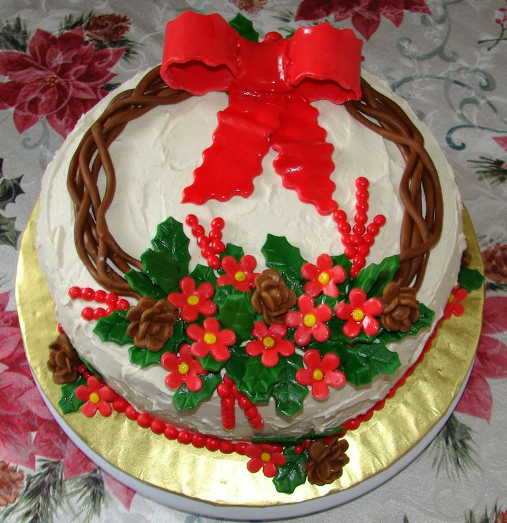 - This cake is a combination cake because my mothers Birthday is the day after Christmas. This is a red velvet cake with whipped buttercream and all the decorations are made out of MMF.