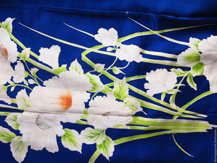 """Купить Кимоно японское шелковое """"Лилии"""" - синий, кимоно, женское кимоно, японское кимоно"""