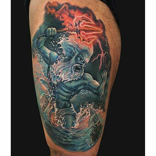 Poseidon tattoo by @jamieleeparker at MD Tattoo Studio in Northridge, CA #jamieleeparker #mdtattoostudio #northridge #california #poseidon #poseidontattoo #greekgod #greekgodtattoo #tattoo #tattoos #tattoosnob