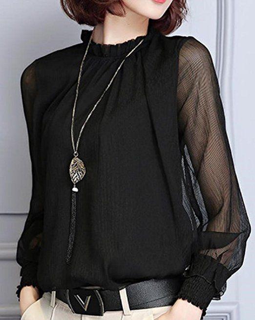 Amazon | (サコイユ) sakoiyu ブラウス レディース シースルー 長袖 おしゃれ シフォン フォーマル Ḿ~3XL 黒 白 紺 (XXL, ホワイト) | シャツ・ブラウス 通販