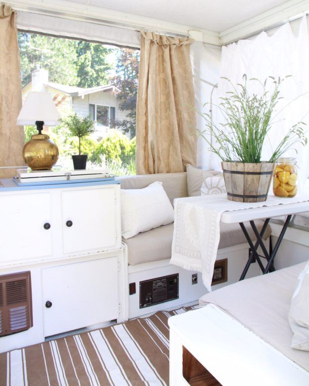 A creative tour of an updated pop up trailer and sharing how to compromise when camping isn't your thing.