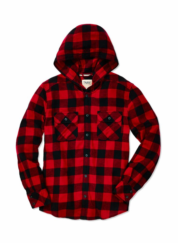 TNA BREWSTER BLOUSE - A lightweight flannel hoodie in exclusive, custom-designed plaid patterns