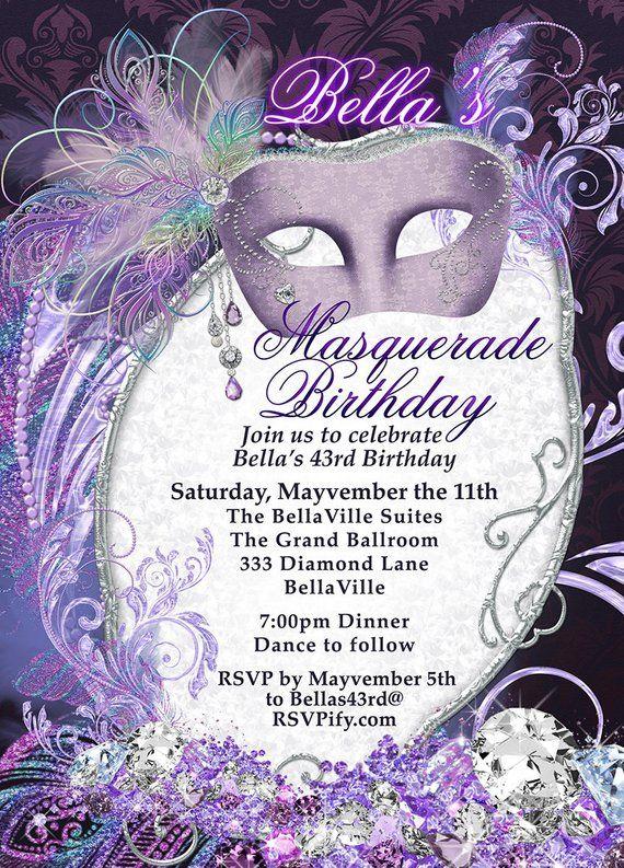 Masquerade Party Invitation Mardi Gras Party Purple | Etsy
