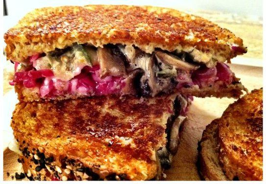 "VEGETARIAN ""REUBEN""... Shrooben. Use vegan cheese. I'm interested in the pickle/cabbage formula instead of kraut."