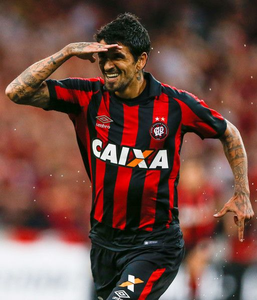 Lucho Gonzalez of Atletico  PR celebrates their first goal during the match between Atletico PR of Brazil and Universidad Catolica of Chile for the Copa Bridgestone Libertadores2017 at Arena da Baixada stadium on March 07, 2017 in Curitiba, Brazil.