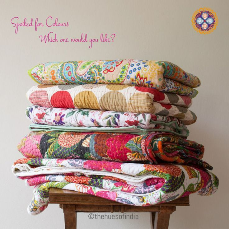 Kantha Quilts , throws or Bedspread -  Love these beautiful Kantha quilts .....so many patterns , designs and colours available online at www. thehuesofindia.com Vintage Kantha quilts also available ...... Check out our full collection.