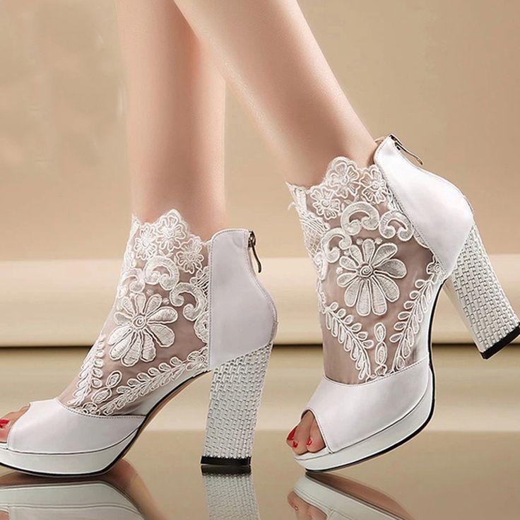 2015 New Fashion Peep Toe Summer Wedding Boots Sexy White Lace Prom Evening Party Shoe Bridal High Heels Lady Formal Dress Shoes alishoppbrasil