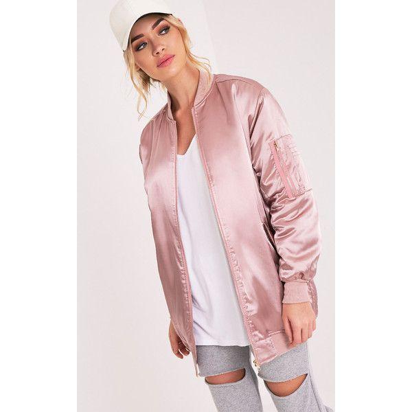 Cruz Mauve Satin Longline Oversized Bomber Jacket ($23) ❤ liked on Polyvore featuring outerwear, jackets, purple, satin jackets, satin bomber jacket, pink jacket, blouson jacket and bomber style jacket
