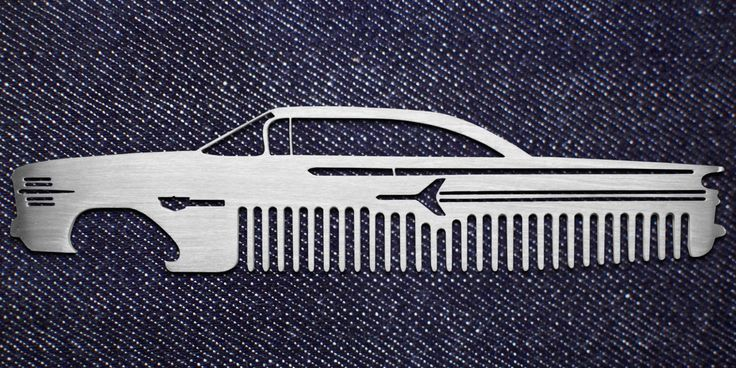 METAL COMBS FOR HAIR BEARDS AND MUSTACHES ALSO USED AS A BOTTLE OPENER IN  THE SHAPES OF POPULAR AND CUSTOM CARS AND TRUCKS. ACCESSORIES GROOMING AND  FOR HAIR STYLING.