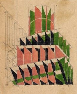 "V. Krinsky: Experimental-methodic study work """"Color and spatial composition."" Composition in space, 1921. Paper, pencil and gouache © The Schusev State Museum of Architecture Moscow"