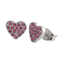 Silver Pink Crystal Heart Stud Earrings Show your true look of love in these pretty in pink earrings. Sprinkled with sparkle and perfect to add a little dazzle to any look! Product Material - Zinc Alloy, Imitation Rhodium, Stainless Steel Posts