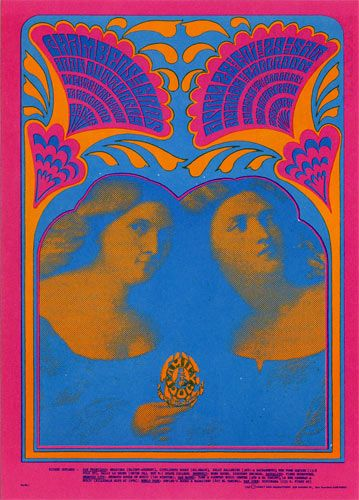 Chambers Brothers and Iron Butterfly (whaaaa?!), Family Dog poster. By Moscoso (1967)